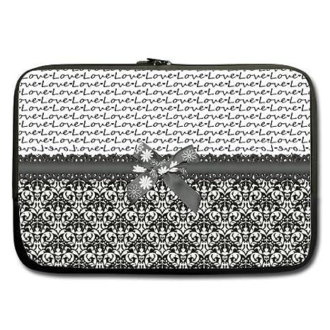 Mejor elegante blanco y negro Damask Love 13 inch Laptop/Ordenador portátil Manga Bolsa Bolsa