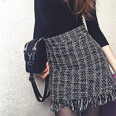 Women Woolen Mini Skirt Autumn Winter Vintage Straight Plaid Tassel Skater Skirt High Waist Femininas