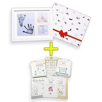 Generic Baby Hand- und Fu/ßabdruck-Set mit Bilderrahmen und Erinnerungskarten Rahmenfarbe wei/ß sauberes Stempelkissen Geschenkidee 30 verschiedene Karten 29 x 24 x 4,5 cm