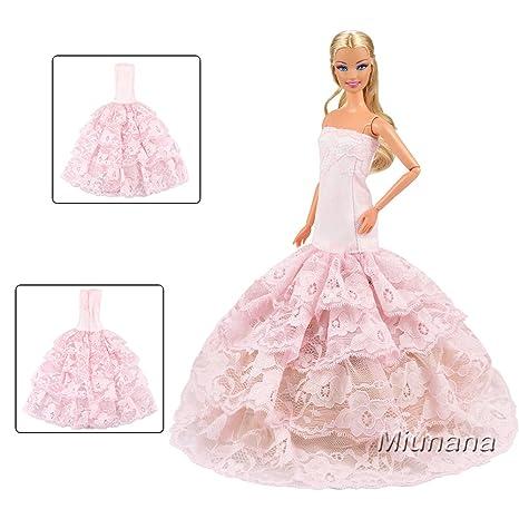 e542c474edcd Miunana Vestito Abito Lanterna Ricamato Pizzo Per Bambola Barbie Dolls  (Rosa)