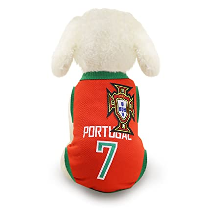 50e3e1d42 Amazon.com   SymbolLife Dog Clothes Football T-shirt Dogs Costume National  Soccer World Cup FIFA Jersey for Pet Portugal   Pet Supplies