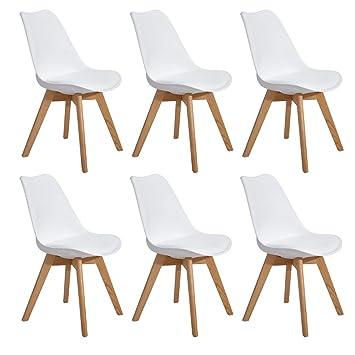 Skandinavisch 6er Bein Küchenstuhl Massivholz KunstlederkissenWeiß Mit Eggree Eiche Esszimmerstühle Und Set Modern Stühle eW2HYI9ED