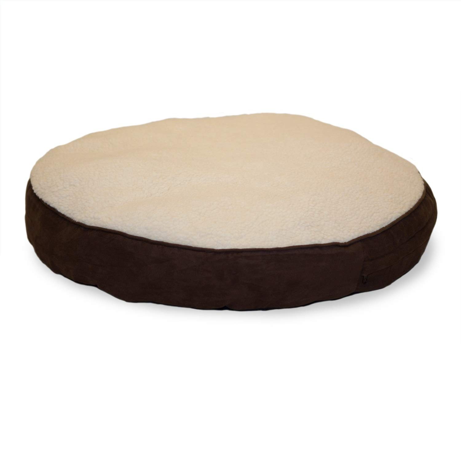 Furhaven Pet Dog Bed - Faux Sheepskin Sherpa and Suede Refillable Deluxe Round Pillow Cushion Pet Bed with Removable Cover for Dogs and Cats, Espresso, 26-Inch