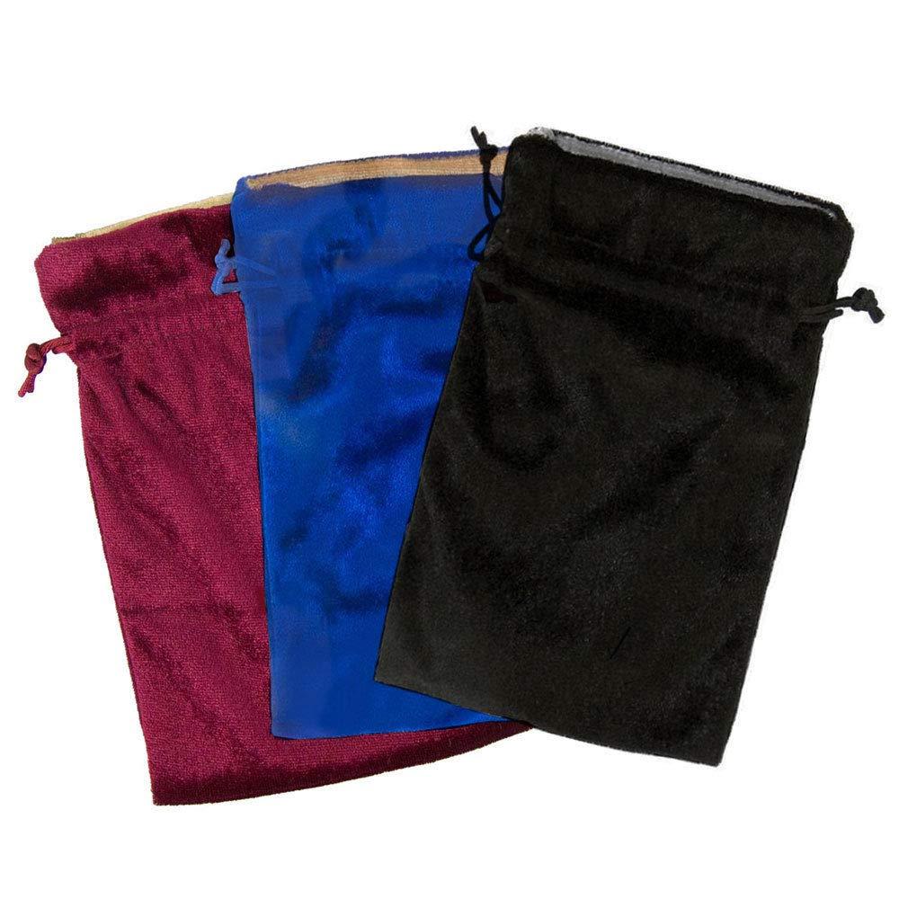 Gift bags Velvet Bag Trio 5x7'' Blue Red Black! Bags for Tarot Runes Dice Lined