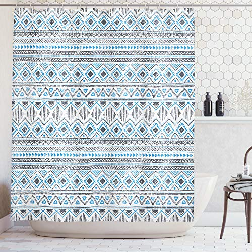 Ambesonne Geometric Shower Curtain by, Chevron Triangles Lines Stripe Antique Antcient Tribal Design, Fabric Bathroom Decor Set with Hooks, 70 Inches, Azure Blue Charcoal Grey White