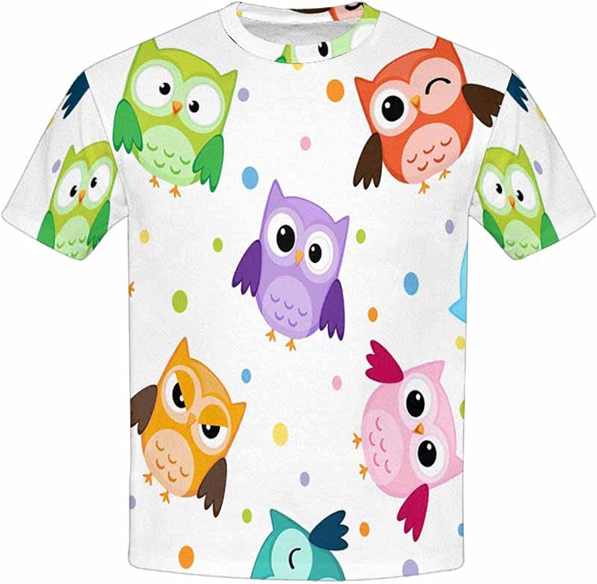 INTERESTPRINT Childs T-Shirt Colorful Owls XS-XL