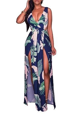 11f6028712d VamJump Women Deep V Neck Sleeveless Printed Tie Back Long Maxi Dresses  Blue S