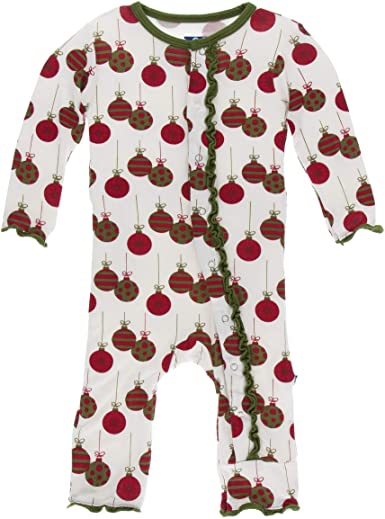 Kickee Pants Little Girls Print Muffin Ruffle Coverall with Snaps Natural Mouse /& Cheese