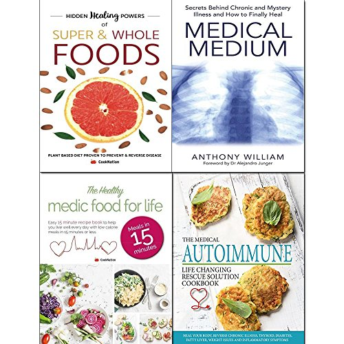 Medical medium, autoimmune life, healthy medic food and hidden healing powers 4 books collection set