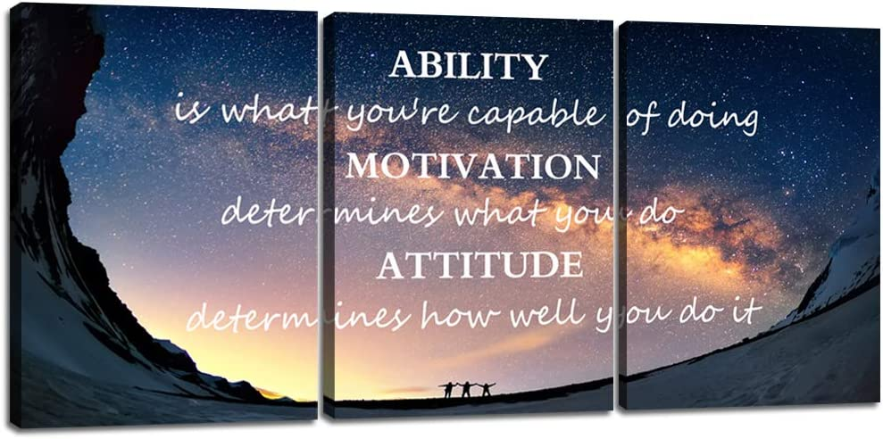 Yetaryy Motivational Quotes Canvas Wall Art Inspirational Ability Motivation Attitude Saying Words Posters Prints Entrepreneur Quote Home Office Bedroom Decor 3 Panels Ready to Hang - 36