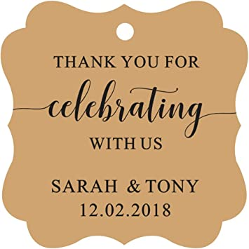 Darling Souvenir Fancy Frame Custom Paper Tags Thank You For Celebrating With Us Wedding Favor Gift Hang Tags-Burlap-100 Tags