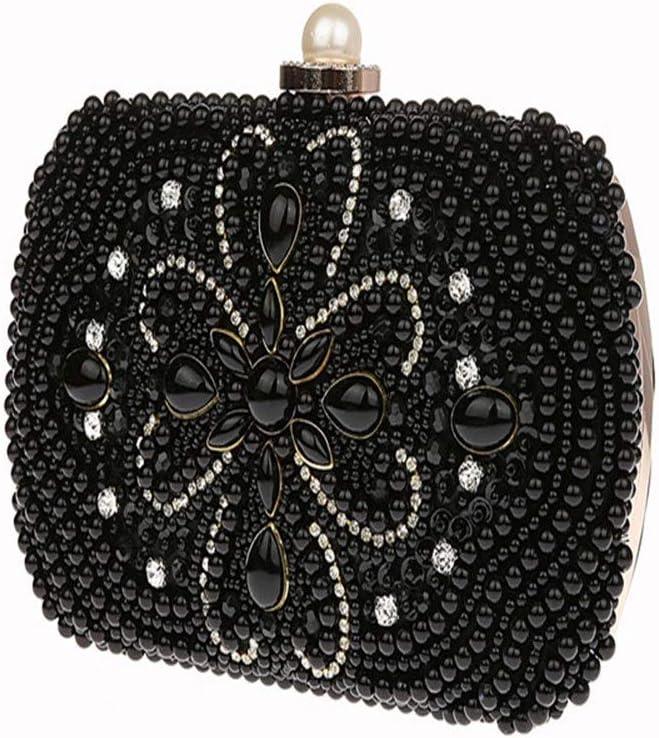 Techecho Clutch Purse Women Rhinestone Beaded Evening Clutch Bags Handbags Bridal Wedding Party Purse Frosted Handbag Party Color : Black