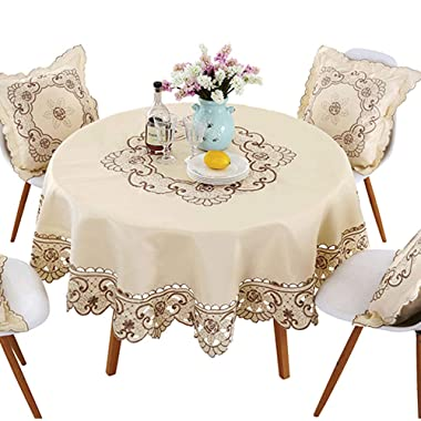 lelehome Brown Flower Embroidered Lace Dark White Cream Tablecloth for Round Tables Multi Sizes Available-70 (178CM)