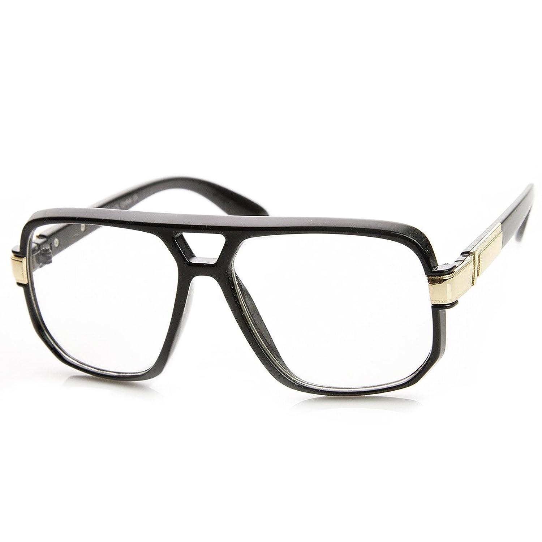 square frame aviators  zeroUV - Classic Square Frame Plastic Clear Lens Aviator Glasses ...