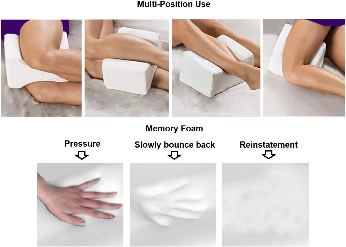 Pregnancy Back Pain Hip and Joint Pain Memory Foam Wedge Contour Leg Pain Cheer Comfort Orthopedic Knee Pillow for Sciatica Relief