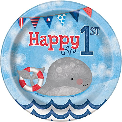 Nautical Boys 1st Birthday Dessert Plates, 8ct