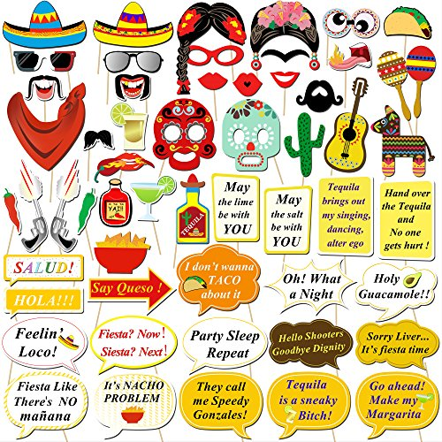 Mexican Fiesta Photo Booth Props, Konsait Funny Photo Booth Selfie Props for Mexican Birthday Wedding Bachelorette Fiesta Themed Party Favors Supplies Decorations (56 - Mustaches Looking Best