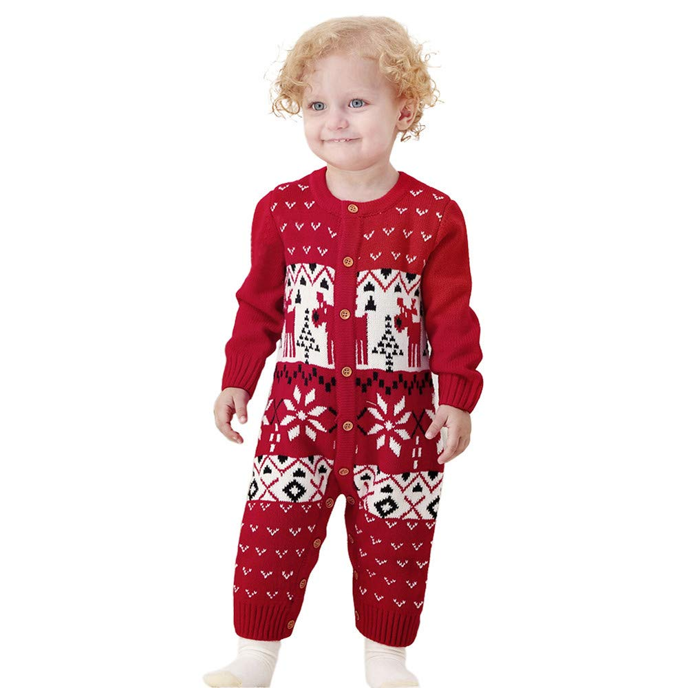 Christmas Universal Baby RomperKobay Toddler Infant Baby Long Sleeve Cartoon Christmas Knitted Jumpsuit Clothes for 0-2 Years