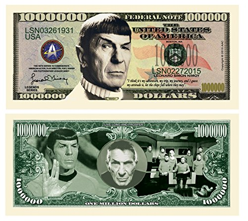 American Art Classics Spock Leonard Nimoy Star Trek Collectible Million Dollar Bill in Currency Holder.