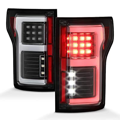 ACANII - For 2015 2016 2020 2020 Ford F150 w/Blind Spot Sensor Black Full LED Light Tube Tail Lights Brake Lamps: Automotive