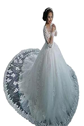 YSFS Women\'s Long Sleeve Lace Wedding Dresses A-line Bridal Gowns ...