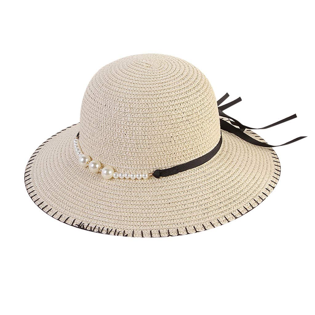 TOTOD Cap,Elegant Women Beach Straw Hat Jazz Sunshade Panama Pearl Fedora Hat Gangster Cap