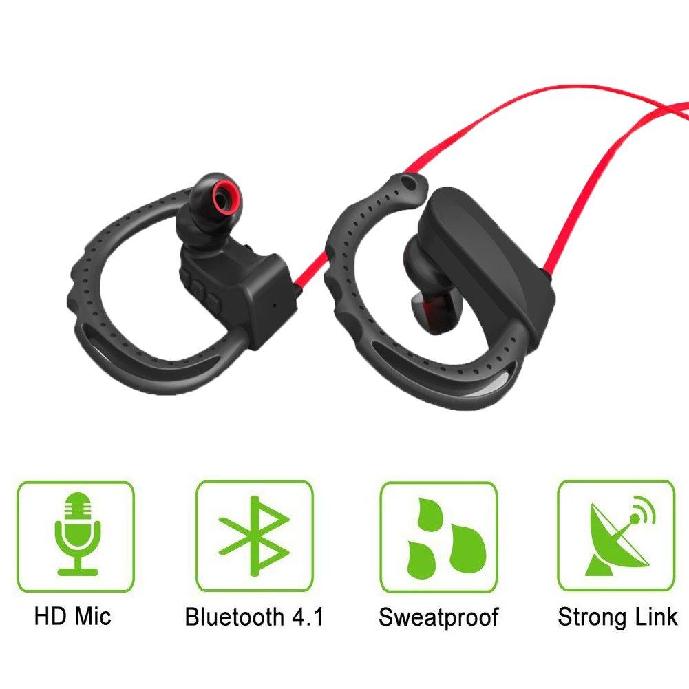 Q12 Auriculares deportivos, newbull inalámbrico Bluetooth 4.1 a Prueba de Sudor Auriculares con micrófono de cancelación de ruido para iPhone Samsung LG PC ...