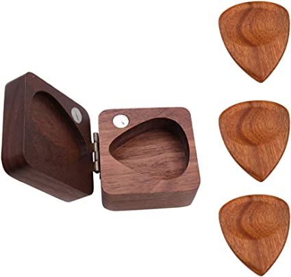 Flameer - Caja de madera para púas de guitarra + 3 púas hechas a ...