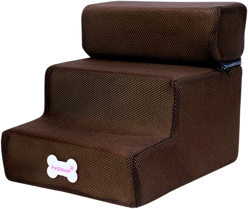Coffee Hopwin Foldable Pet Steps 3 Step Soft Dog Stairs Ramp for Small Dogs and Cats Washable Non-Slip Couch Step Up to 150-pounds