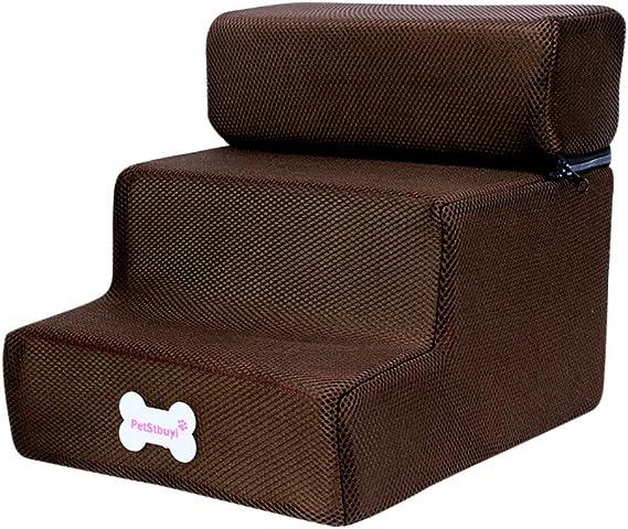 Yinoot Escalera de Mascota Desmontable/Escalera Perro de 3 Pasos/Escaleras para Mascotas de Malla Transpirable y Plegable (Talla única, Café): Amazon.es: Ropa y accesorios