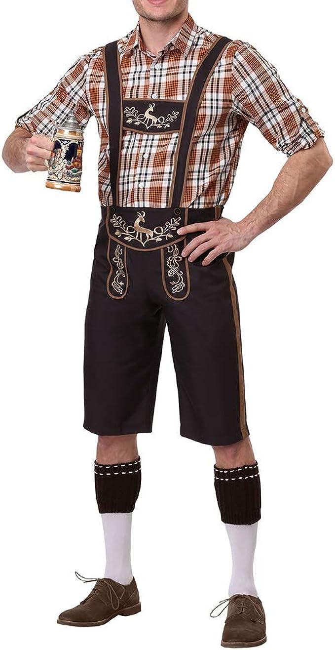 Amyove Hombres Cosplay Bávaros Trajes tradicionales Camisas a cuadros + Pantalones de liga + Ropa de gorra Coffee M: Amazon.es: Ropa y accesorios