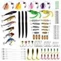 Fishing Lures Baits Tackle, BEST BASS Fishing Lures Including Crankbaits, Spinnerbaits, Plastic worms, Jigs, Topwater Lures , Tackle Box and More Fishing Gear Lures Kit Set ...