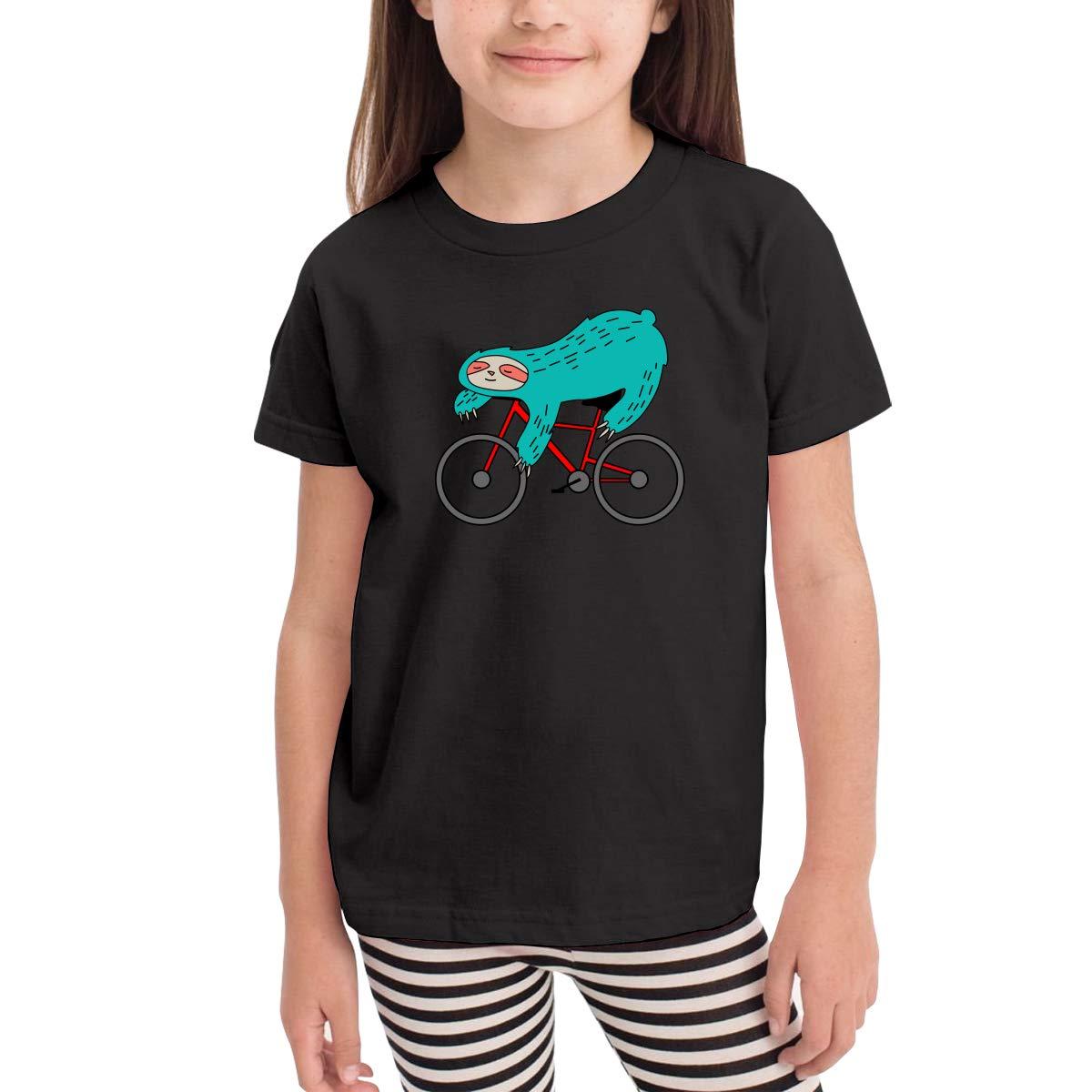 Antonia Bellamy Lazy Sloth Riding A Bicycle Kids Short Sleeve Crew Neck Tees