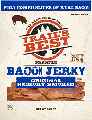 Trails Best Bacon Jerky with Clip Strip, 22 Ounce (Pack of 8) by Trail's Best