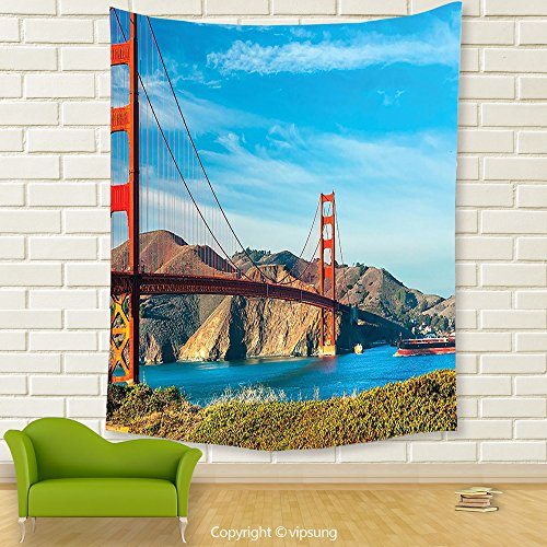 Vipsung House Decor Tapestry_Decor Collection Golden Gate San Francisco Usa. Clear Summer Sky Sunny Day Ocean Stones Touristic_Wall Hanging For Bedroom Living Room (Halloween Dog Parade San Francisco)