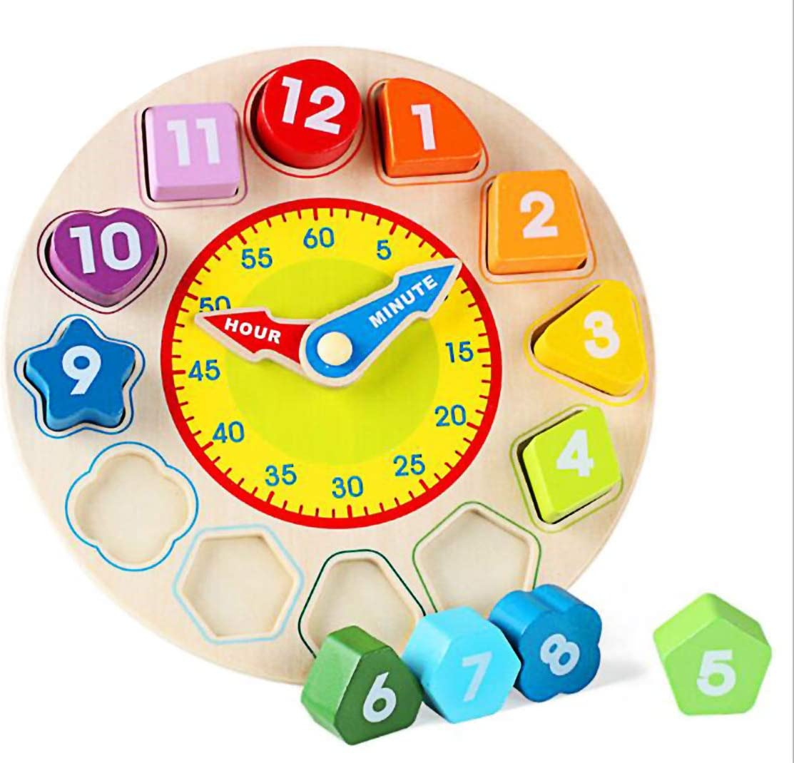 N2 Time Clock Toy for Kids Wooden Time Learning Shape Sorting Color Game Montessori Early Education Math Set Kid Jigsaw Play Tool Preschool Toddler Puzzle Toy Gift for Boys Girls Birthday Age 3 4 5 6: Toys & Games