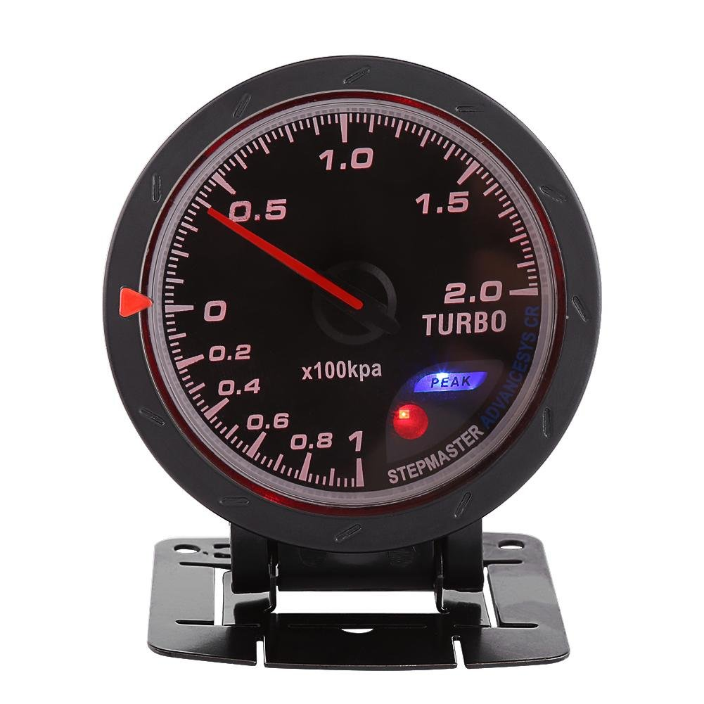 Acouto Universal 60mm LED Turbo Boost Gauge Meter Black Shell for Auto Racing Car 0-200 Kpa
