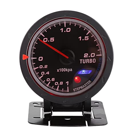 60mm LED Turbo Gauge Boost Meter, Car Boost Gauge Vacuum Press Black Shell Universal for
