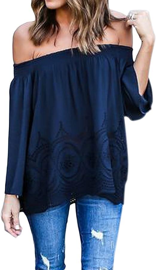 Minetom Blusa Camiseta Casual Elegante Verano Playa Cuello Barco Mangas Largas para Mujer