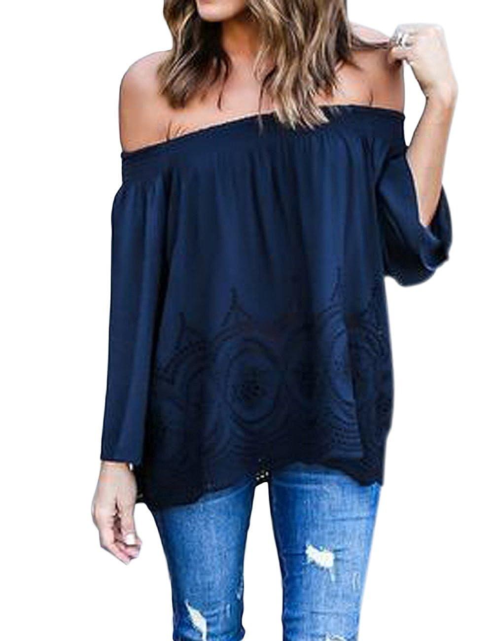 Minetom Blusa Camiseta Casual Elegante Verano Playa Cuello Barco Mangas Largas para Mujer: Amazon.es: Ropa y accesorios