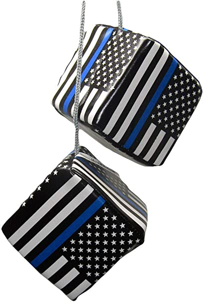 "3/"" USA Police Memorial Blue Line Law Enforcement Hanging Dice"