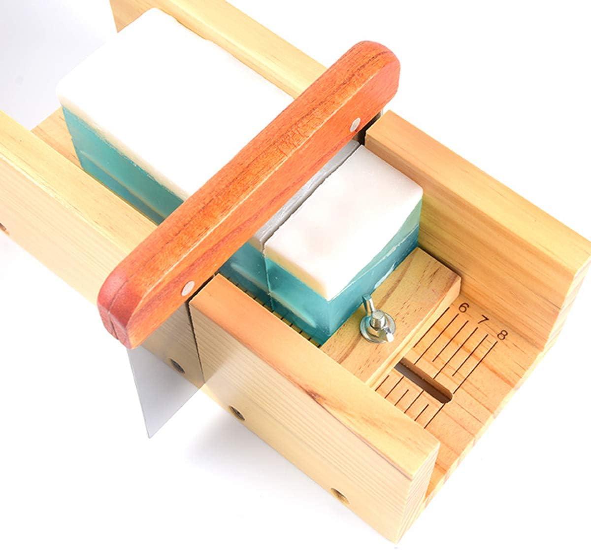 2 piezas de molde de silicona rectangular de diferentes tama/ños y 1 pieza de cortador recto y cortador de ondas de acero inoxidable AOFOX Juego de cortador y molde de madera para jab/ón