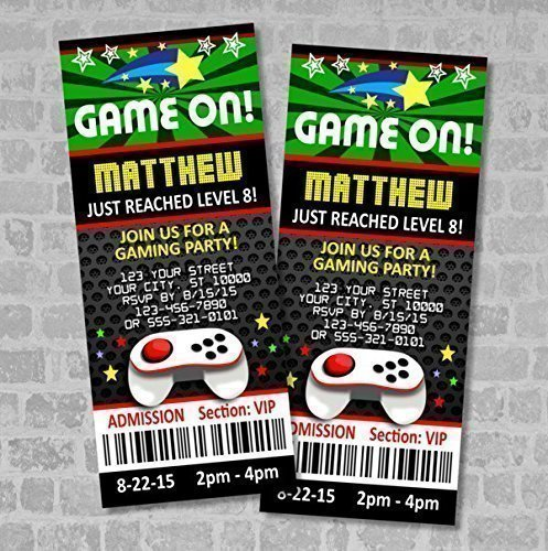 Amazon.Com: Video Games Party Ticket Invitations, Gaming Birthday