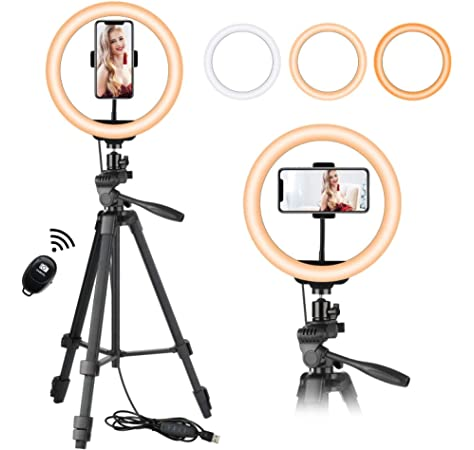 Desktop Tripod Mount with Cold Shoe Tripod BallHead RuleaxAsi 4.7 inch 120mm USB 10 Modes 8 Colors RGBW Adjustable Dimmable LED Round Rings Vlogging Photography Lamp Video Lights Black PKT3049