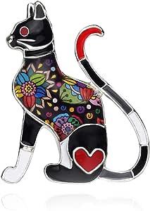NEWEI Enamel Alloy Cut Cat Brooch Pin Fashion Animal Jewlery for Women Girls Gift Charms Decorations
