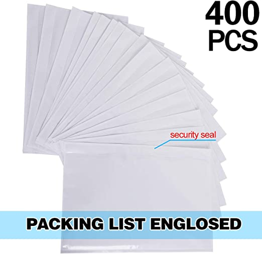 KEILEOHO 400 PCS 6 x 9 Inch Packing List Envelopes Clear Adhesive Mailing Labels Top Loading Shipping Label Package Instruction Bag Waterproof and self-Adhesive