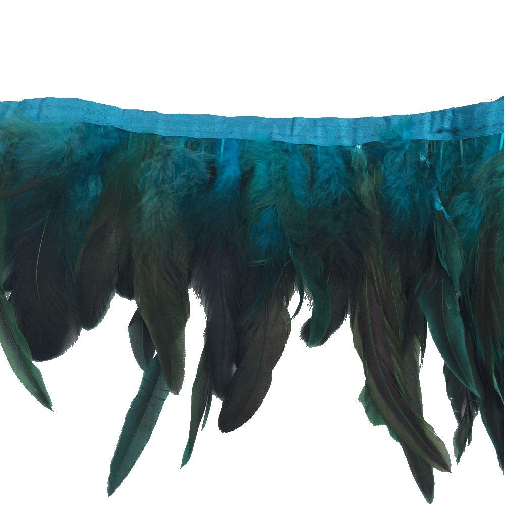 Shekyeon 2yards Rooster Feather Fringe Trim for Costume decoration Green