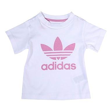 f2a4916bbf162 adidas Originals Baby Girls Trefoil T-Shirt in White Pink- Short ...