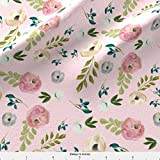 "Spoonflower Vintage Inspired Fabric 4"" August Free Floral In Pink by Shopcabin Printed on Cotton Poplin Ultra Fabric by the Yard"