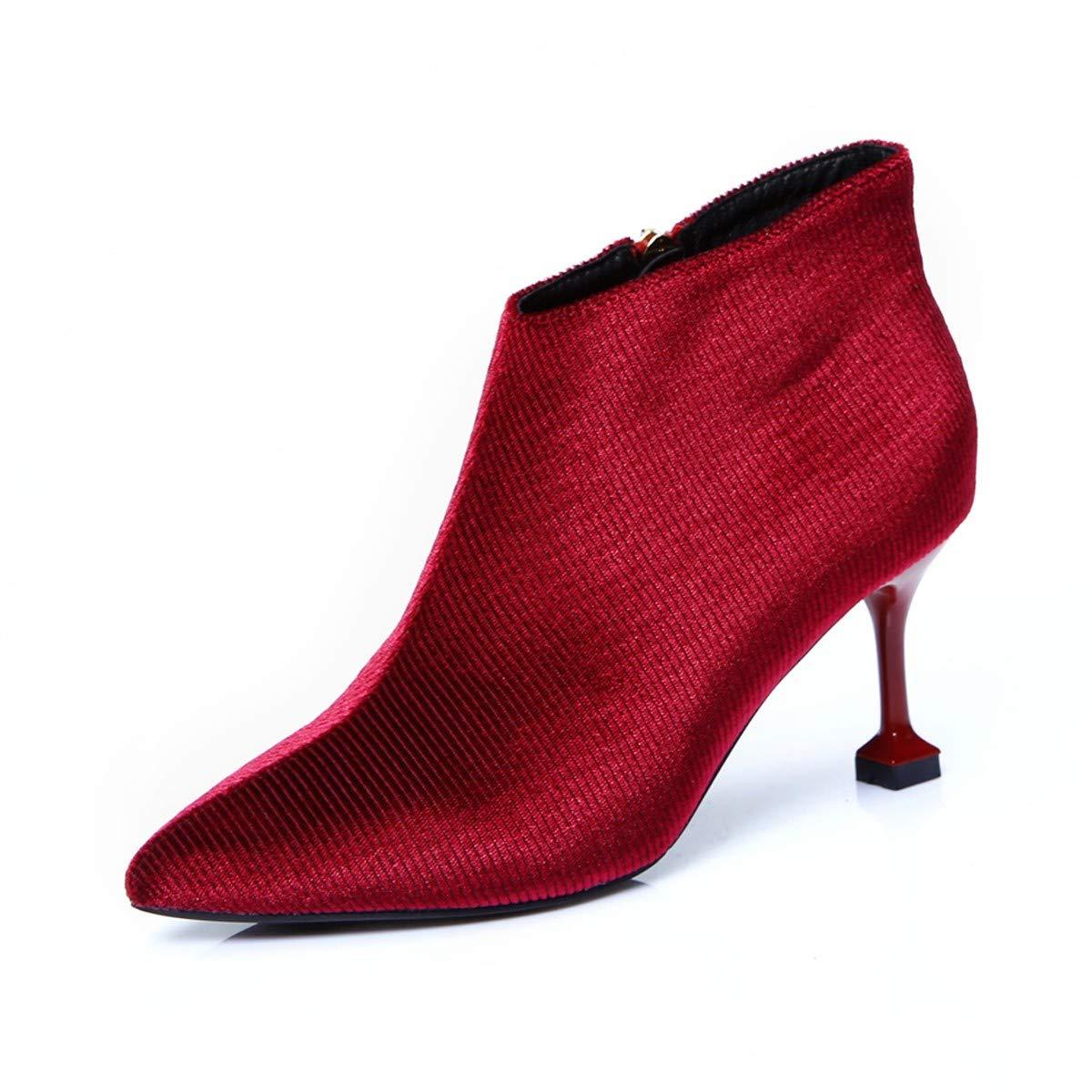 LBTSQ-Einfacher Und Vielseitiger Spitze Seite Seite Seite Reißverschluss 7Cm Nackt Stiefel Dünne Sohle Hochhackigen Stiefel Kurze Stiefel Mode. 861e16